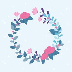 Wall Mural - flowers wedding, wreath flourish leaves ornate decoration