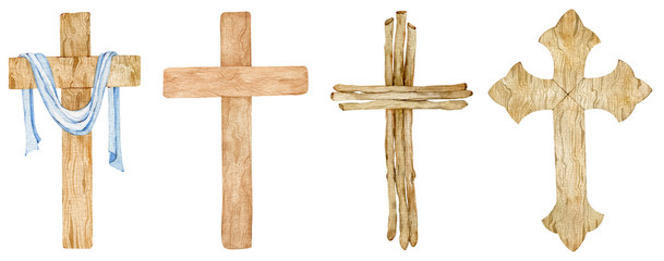 Watercolor set of wooden Christian crosses. Church cross isolated. Abstract religion symbol.