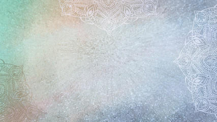 Soft blue, gold and green textured glitter and watercolor background with mandalas