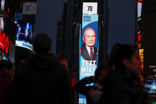 Billboard advertisement for Democratic 2020 U.S. presidential candidate and former New York City Mayor Bloomberg is seen in Times Square in New York