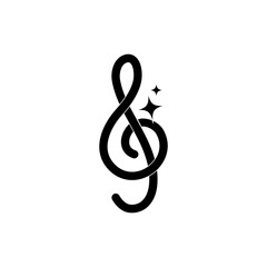 treble clef note musical melody sound music silhouette style icon