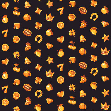 Classic gold slot machine symbol seamless pattern. Casino flat icons background