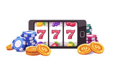 สมาร์ทโฟนที่มีสล็อตแมชชีนชิปโป๊กเกอร์และเหรียญ  ภาพประกอบเกมสล็อตออนไลน์