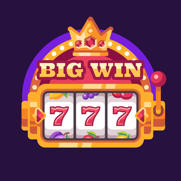 777 slot machine Big win. Casino flat illustration
