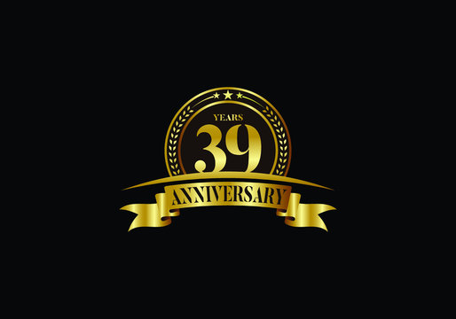 39th years anniversary logo template, vector design birthday celebration, Golden anniversary emblem with ribbon. Design for a booklet, leaflet, magazine, brochure, poster, web, invitation or greeting