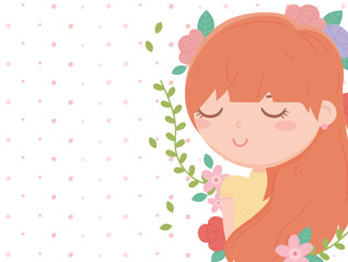 Wall Mural - young woman flowers decoration border dots background cartoon