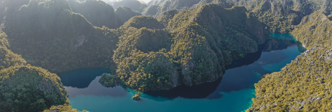 Aerial view of Barracuda lake in Coron, Palawan, Philippines