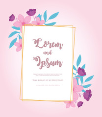 Wall Mural - flowers wedding, save the date, decorative rustic flowers decoration banner
