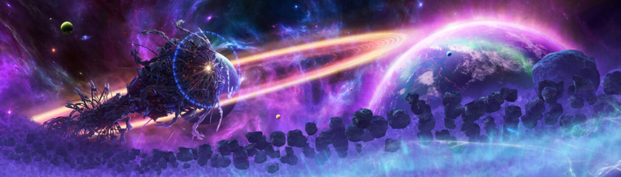 Artistic 3d rendering illustration of an alien spaceship in an asteroids scene.