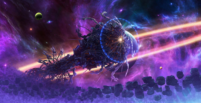 Artistic abstract 3d illustration of an alien spaceship surrounded by asteroids