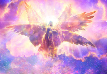 Abstract 3d rendering illustration of an powerful angel with wings flying over to heaven