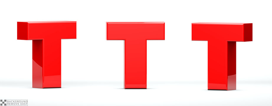 Letter T of red color in 3 positions. 3d Render illustration at different angles: Front, right side, left side. White background, isolated.
