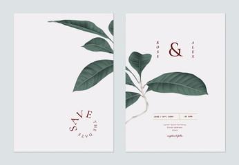 Minimalist foliage wedding invitation card template design, dark green   leaves on light grey Wall mural