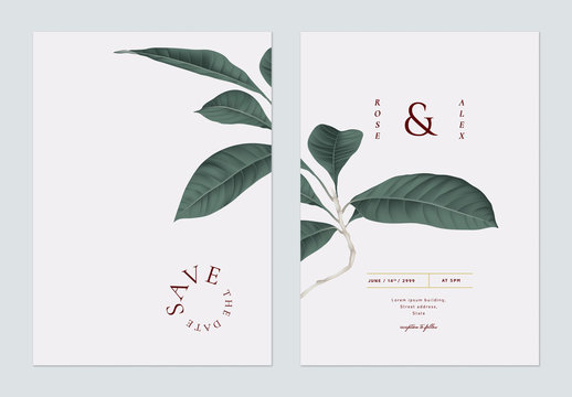 Minimalist foliage wedding invitation card template design, dark green   leaves on light grey