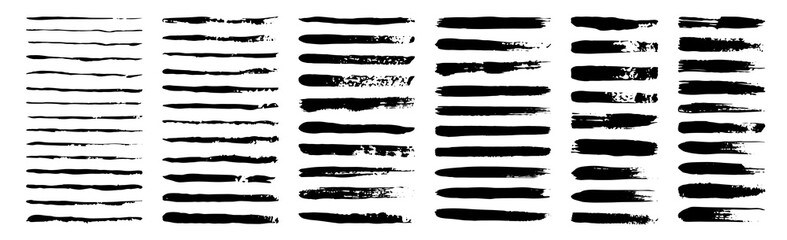 Photo sur Aluminium Forme set of grunge black paint, ink brush strokes. brush collection isolated on white background. Trendy brush stroke for black ink paint,grunge backdrop, dirt banner,watercolor design and dirty texture.