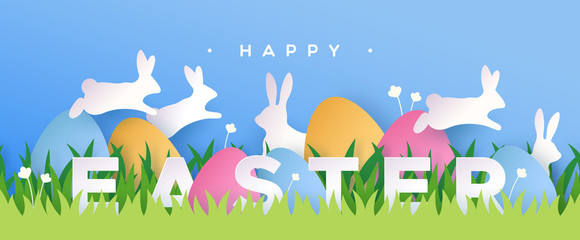 Happy easter paper cut card rabbit eggs in spring