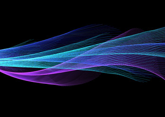 Foto op Canvas Fractal waves 暗闇に浮かぶ抽象的な青い波形の光線