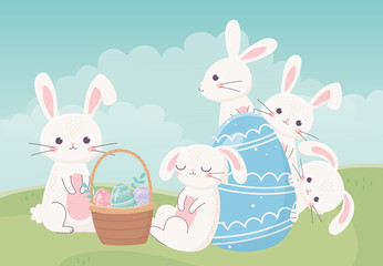 happy easter day, white rabbits basket egg in grass