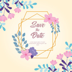 Wall Mural - flowers wedding, save the date, floral frame decoration nature flowers card