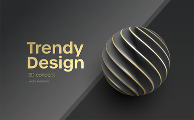 Black Paper cut 3d realistic layered sphere. Concept design element for presentations, web pages, posters and flyers. Vector illustrartion