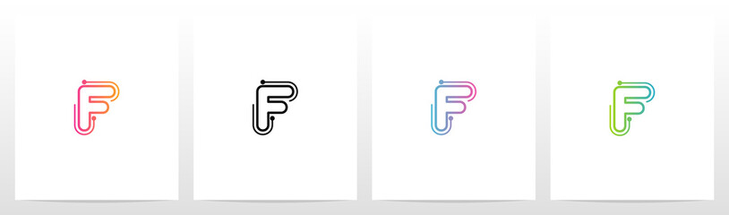 Dots With Lines On The Outside Of Letter Logo F