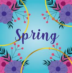Wall Mural - hello spring, lettering flowers season ribbon blue background