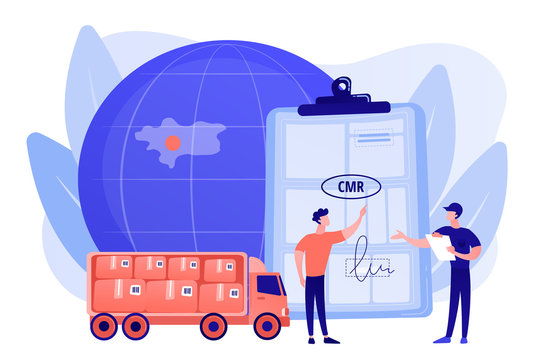 Worldwide logistics and distribution contract. Road transport documents, CMR transport document, international transportation regulation concept. Pinkish coral bluevector isolated illustration