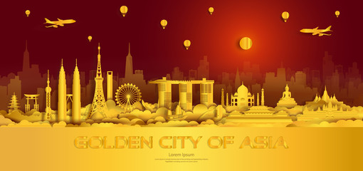 Wall Mural - Travel gold city landmarks of Asia Important architectural monuments.