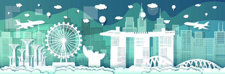 Wall Mural - Travel landmarks to singapore with modern architecture on blue background.