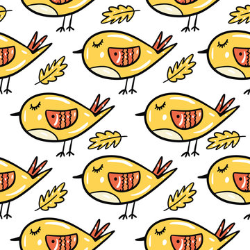 Yellow bird and leaf seamless pattern. Hand drawn vector illustration. Isolated on white background. Cartoon style.