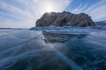 Fototapeten Rosa hell Lake Baikal, Russia, the world's largest freshwater lake, is located in Siberia and was declared a UNESCO world heritage site in 1996.