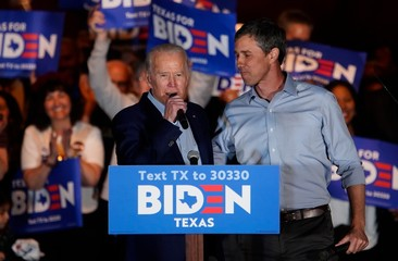 Former 2020 U.S. Democratic presidential candidate Rep. Beto O'Rourke attends campaign event to endorse former Vice President and Democratic 2020 U.S. presidential candidate Biden for president in Dallas