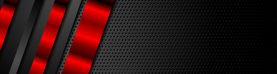 Poster de jardin Metal Black and red metal stripes on dark perforated background. Vector hi-tech geometric design