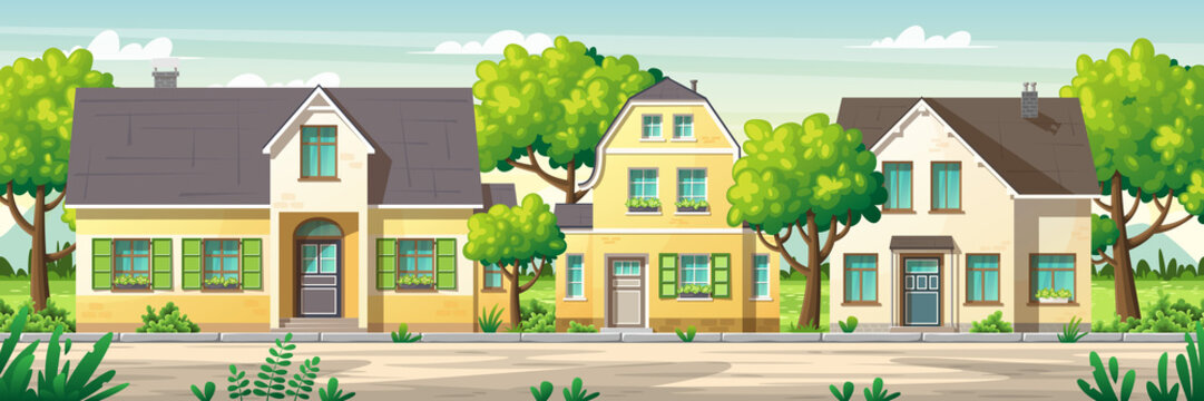 Modern houses with garden on a street in summer. Vector Illustrations with separate layers. Concept for banner, web background and templates.