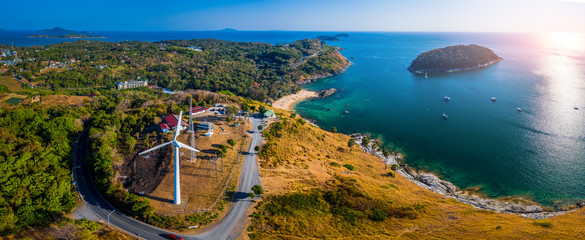 Wall Mural - Aerial panorama of the island of Phuket in Thailand during sunny day. Area of the wind generator and its viewpoint