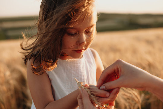 Charming red haired caucasian girl holding some wheat seeds posing in a field near her mother