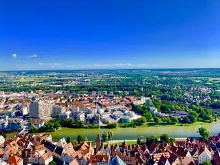 Fotorollo Dunkelblau aerial view of the city