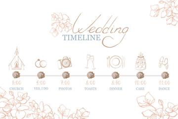 Hand drawn color vector wedding timeline