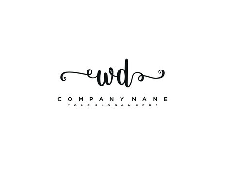 WD initial letter elegant handwriting logo collection