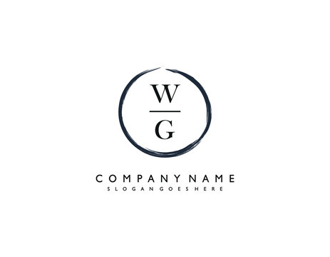 WG initial letter elegant handwriting logo collection