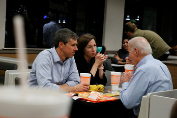 Former Democratic U.S. presidential candidate Beto O'Rourke, his wife Amy and former U.S. Vice President Joe Biden visit a Whataburger after O'Rourke endorsed Biden's campaign for president in Dallas