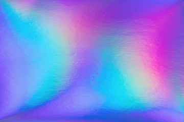 Wall Mural - Abstract trendy rainbow holographic background in 80s style. Blurred texture in violet, pink and mint colors with scratches and irregularities. Bright neon colors.