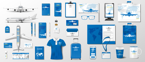 Corporate Realistic template airplane elements for travel agency design. Business style stationery mockup for travel and vacation. Airline plane mockup Vector illustration