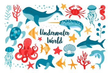 Set of sea animals in flat style hand drawn. Vector clipart for the design of children's products. Fish, jellyfish, corals. Beautiful underwater world in red and blue colors.
