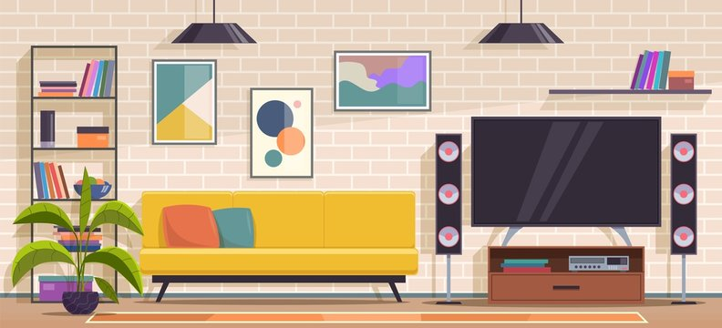 Living room. Modern apartment interior with furniture, sofa and armchair, shelves and tv, wall pictures and plants flat vector interior