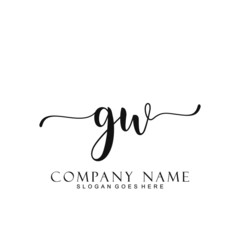 Initial letter GW handwriting logo template