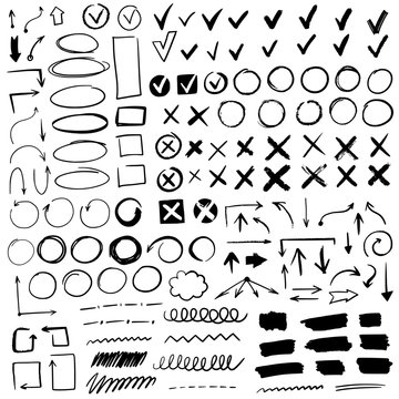 Hand drawn check signs. Doodle black check marks and underlines, cross, circles, arrow mark for list items, yes or no checklist vector icons