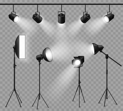 Realistic spotlight. Illuminated photo studio and stage light, floodlights and softbox set for vivid show, concert light effects. Vector set