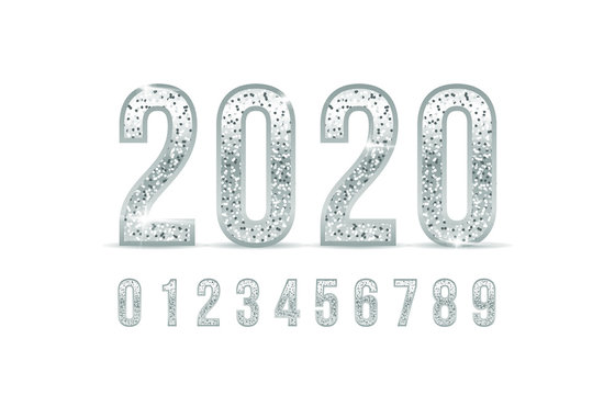 2020. Silver numbers fonts. Vector illustration. Elegant numbers silver colored metal chrome alphabet font. silver number typography font set for, poster, Invitation etc.