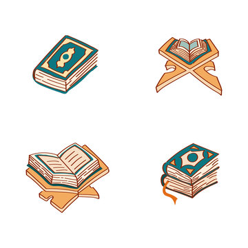 Simple Alquran Set Flat Illustration Hand Drawing